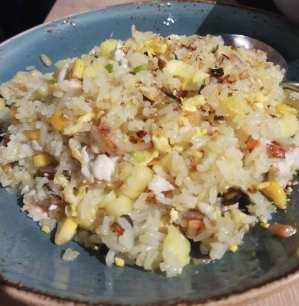 arroz con pollo y piña