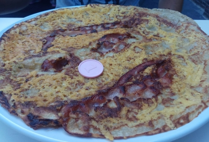 pancake bacon y queso